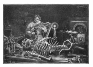 Themes Science Fiction, public domain image from Frankenstein novel