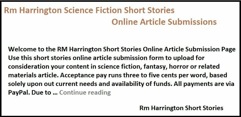 Rm Harrington Science Fiction Short Stories Online Article Submission